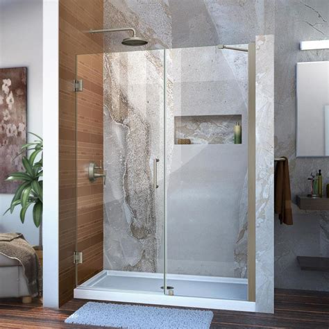 Brushed Nickel Shower Door Shop Dreamline Unidoor 50 In To 51 In Frameless Brushed Nickel Hinged Shower Door At Lowes