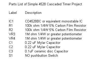 diagram circuit source cascaded timer using 4528 ic
