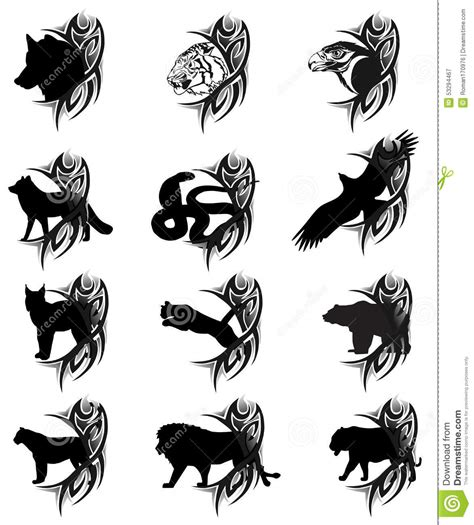 tattoo animal vector animals tattoo stock vector image of mammal image