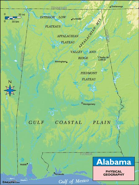 physical map of alabama alabama physical geography map by maps from maps