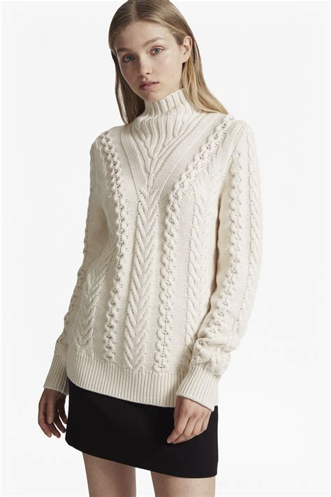 Cardigan 112226001 White Knitted cable knit high neck jumper jumpers cardigans connection