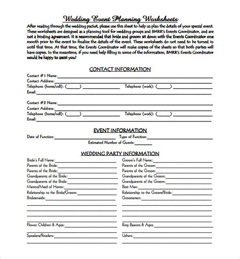 free printable wedding planner pdf event planning template 5 free word pdf documents