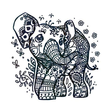 mehndi elephant coloring page henna tattoo elephant art print by ravenno society6