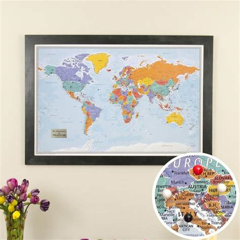 travel map with pins framed and personalized world travel maps with pins