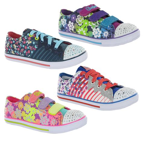new light up shoes new girls kids skechers memory foam twinkle toes light up