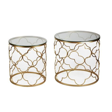 metal accent table with glass top joveco golden quatrefoil designed accent metal round end