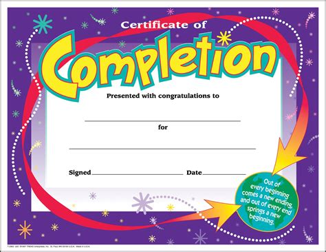certificate template for children 30 certificates of completion large certificate award