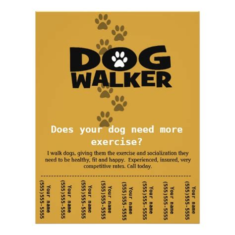Dog Walker Custom Promotional Tear Sheet Flyer Zazzle Walking Flyer Template Free