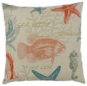 Beachy Upholstery Fabric Carolina Turquoise And Coral Beach House Pillow Beach