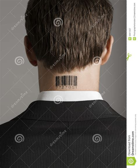 rear view of businessman with bar code tattoo on neck