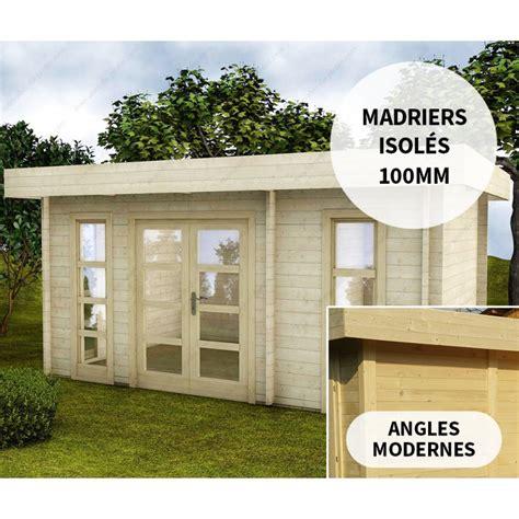 abri en bois massif 15m 178 avec isolation 100mm moderne