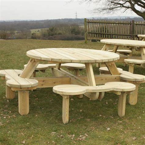 round picnic table with attached benches 25 best ideas about round picnic table on pinterest