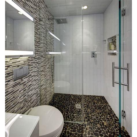 modern small bathroom  river rock floor  curbless