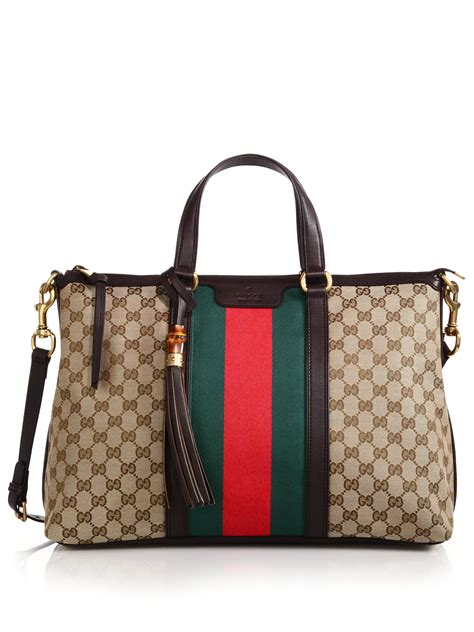 Gucci Top Ori Arken lyst gucci rania original gg canvas medium top handle bag