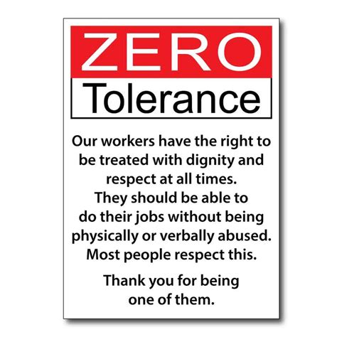 zero torelance jaf graphics zero tolerance workplace signs pk 2