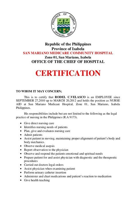 certification letter for nurses rodel c velasco
