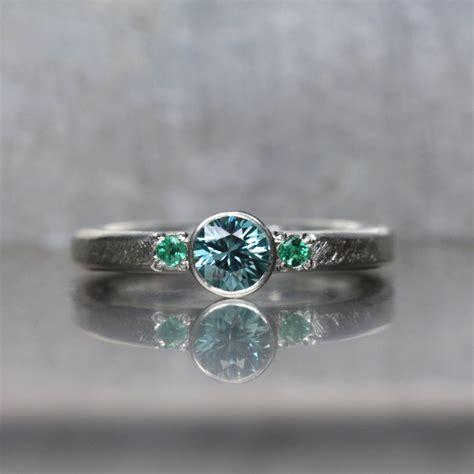 blue zircon emerald engagement ring silver mermaid