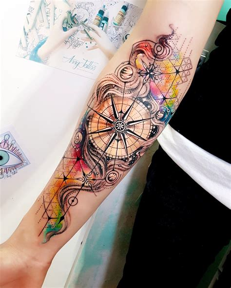 types of tattoo design like the background but different types of compass