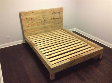 bed frame pallets reclaimed oak wood bed frame queen by witusik2000 on etsy