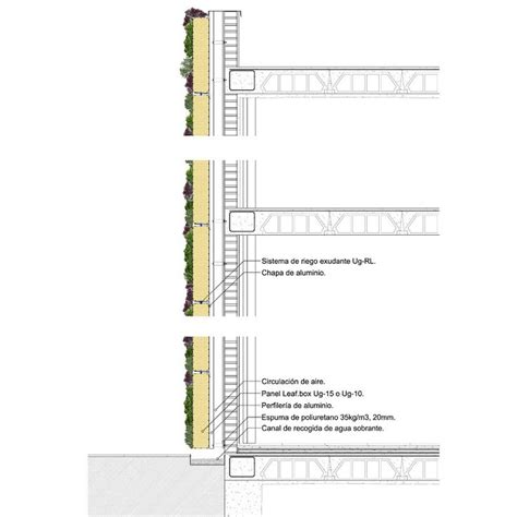 vertical garden wall section architecture