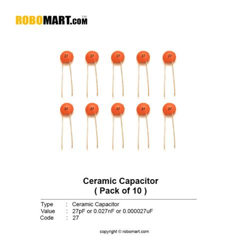 ceramic capacitor code 10 underline 27pf ceramic non polarized capacitor india