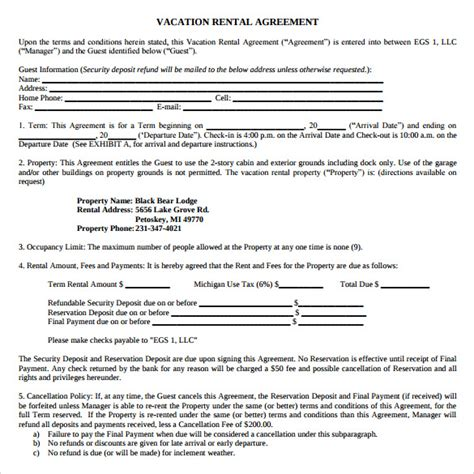 vacation rental agreement 7 sles exles format