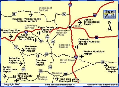 colorado airports map colorado commercial airports map co vacation directory