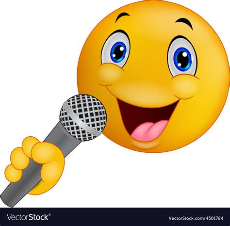 singing emoji emoticon smiley singing royalty free vector image