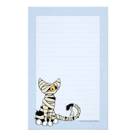 lined paper with cat border halloween stationary with lines mummy cat halloween