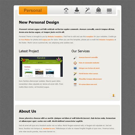 personal design free html css templates