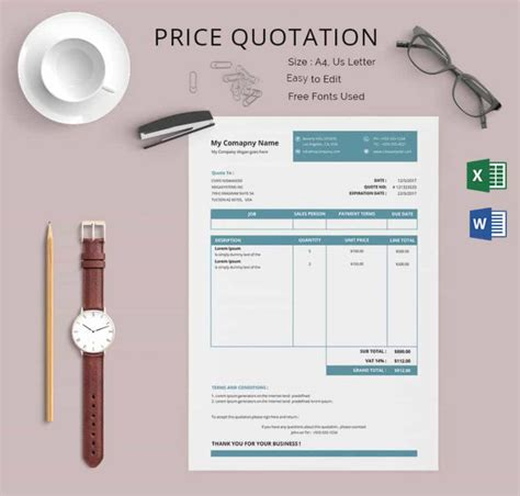 Business Letter Exle Quotation Price Quotation Template 18 Free Word Excel Pdf Documents Free Premium Templates