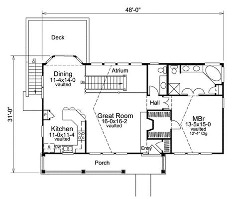 economical atrium ranch home plan