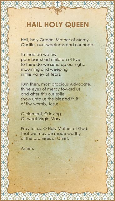 printable version of hail holy queen hail holy queen prayer card back flickr photo sharing