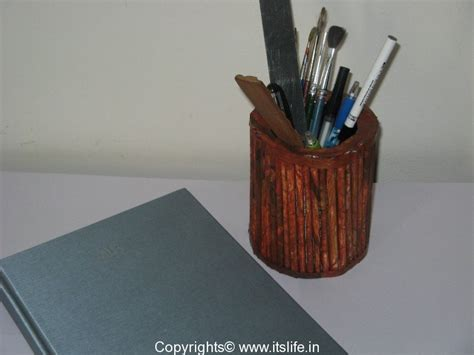 How To Make Pen Stand Using Paper - paper roll pen stand hobby