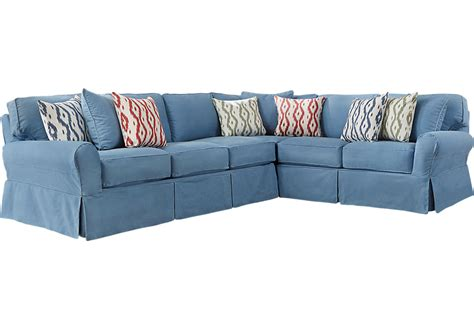 cindy crawford beachside slipcovers cindy crawford home beachside blue 2 pc sectional