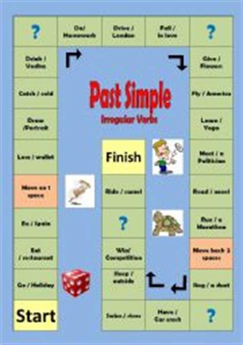 past tense printable board games irregular verbs past simple board game