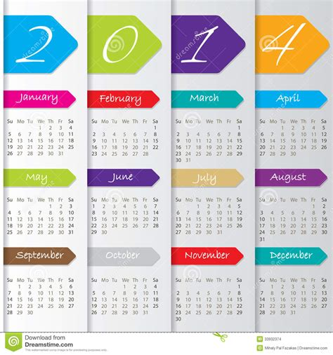 design yearly calendar arrow calendar design for 2014 stock vector illustration