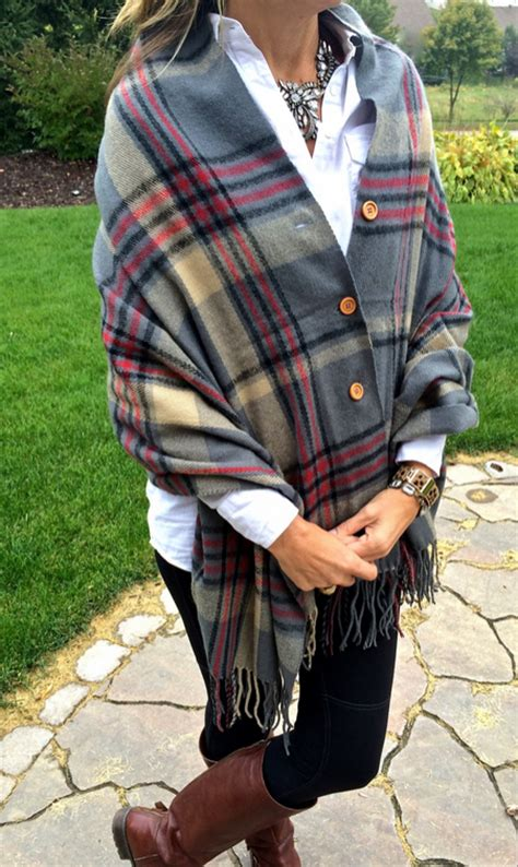 scarves to add oomph to any fall look glam radar groopdealz plaid button blanket scarf 4 color options