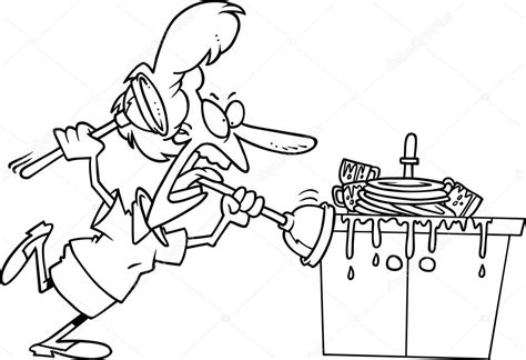dessin evier cuisine clogged kitchen sink stock vector 169 ronleishman