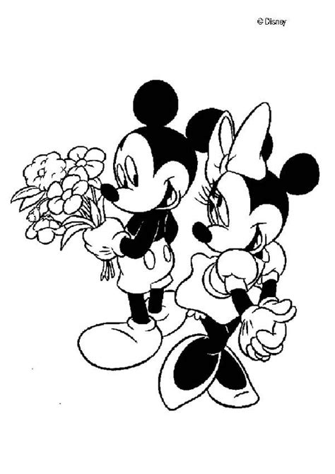 mickey mouse and minnie mouse in love coloring pages