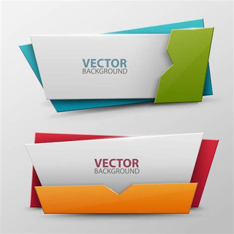 Origami Banner Vector - origami colored banners colored vectors 01 welovesolo