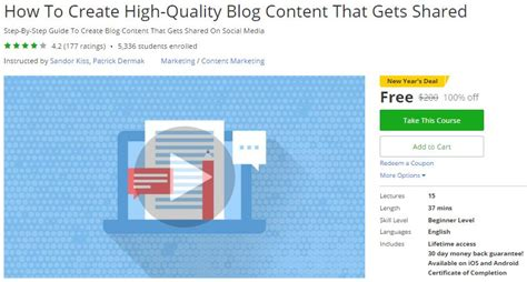cafeshared how to create a blog udemy coupon how to create high quality blog content