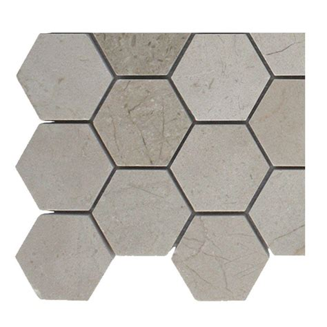 splashback tile crema marfil hexagon polished marble