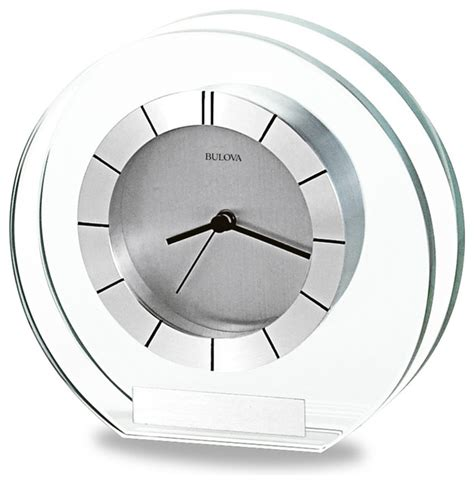 Accolade 6 Quot Wide Bulova Table Clock Modern Desk And Modern Desk Clocks