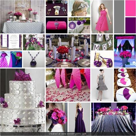 wedding inspirations fuschia purple and grey wedding