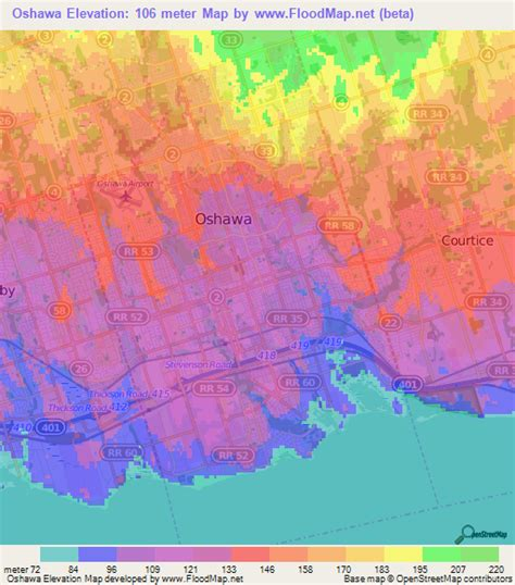 elevation map of usa and canada elevation of oshawa canada elevation map topography contour