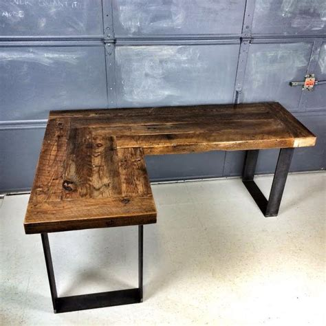 Rustic L Shaped Desk Rustic L Shaped Computer Desk L Shaped Curved Desk With Drawers Reclaimtofame1 On Etsy Https