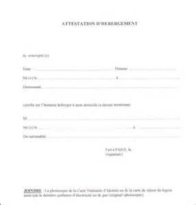 modele attestation hebergement pour passeport document
