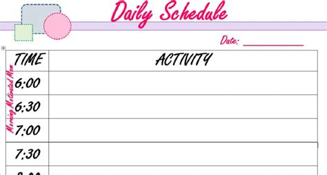 printable 30 minute daily schedule daily planner template 15 minute increments free printable