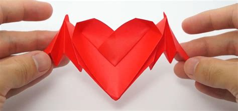 Origami For Valentines - how to fold origami bat winged hearts for s day